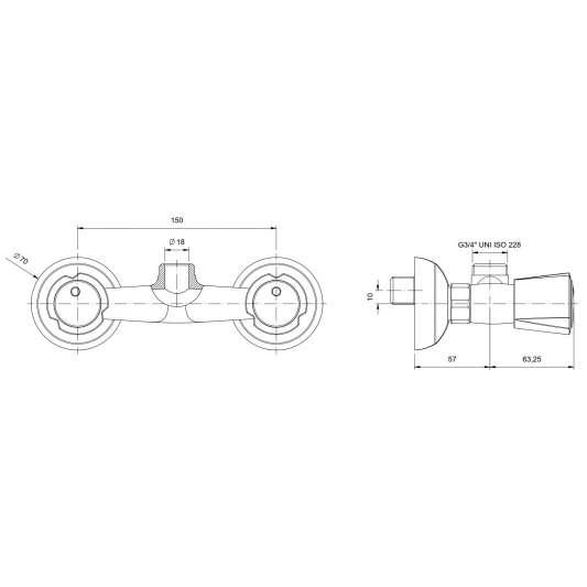 Zweiloch Geschirrwaschbrause Profi 100 + Mischbatterie Wand