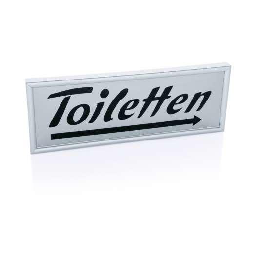 Hinweisschild Toiletten, Rechtspfeil