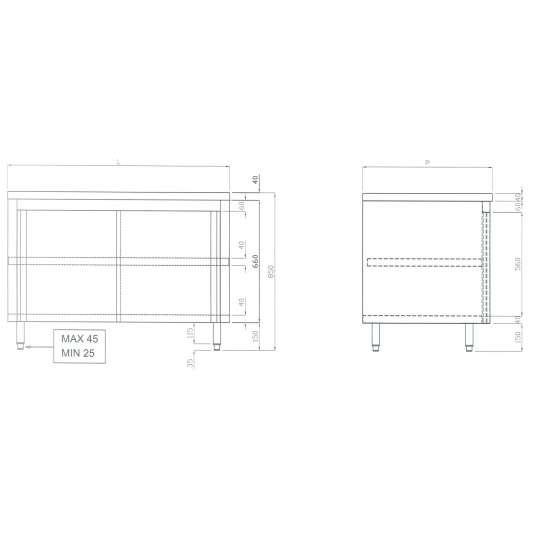 Edelstahl Arbeitsschrank ECO 12x6