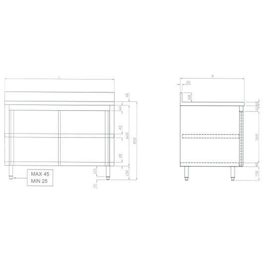 Edelstahl-Arbeitsschrank 15x6 mit Aufkantung