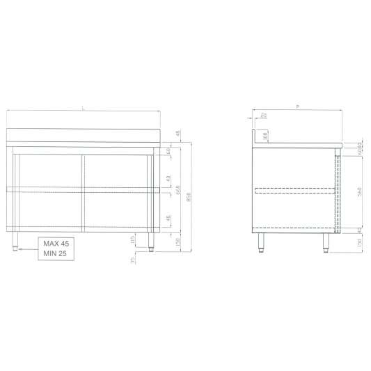 Edelstahl-Arbeitsschrank ECO 18x6 mit Aufkantung