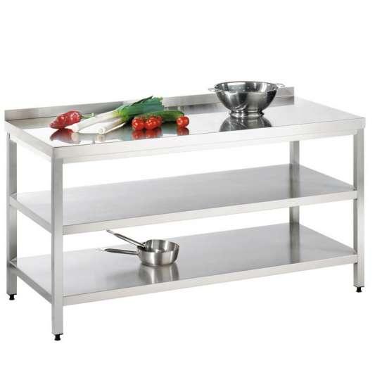 Edelstahl Arbeitstisch mit Grundboden, Zwischenboden und Aufkantung PROFI 18x6