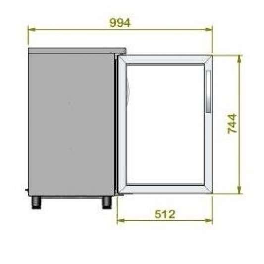 Barkühltisch PROFI 2/0 - mit Glastüren | Kühltechnik/Kühltische/Barkühltische