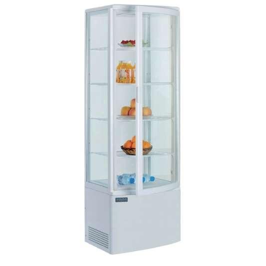 Kühlvitrine Polar 235L weiß - mit gebogener Glastür
