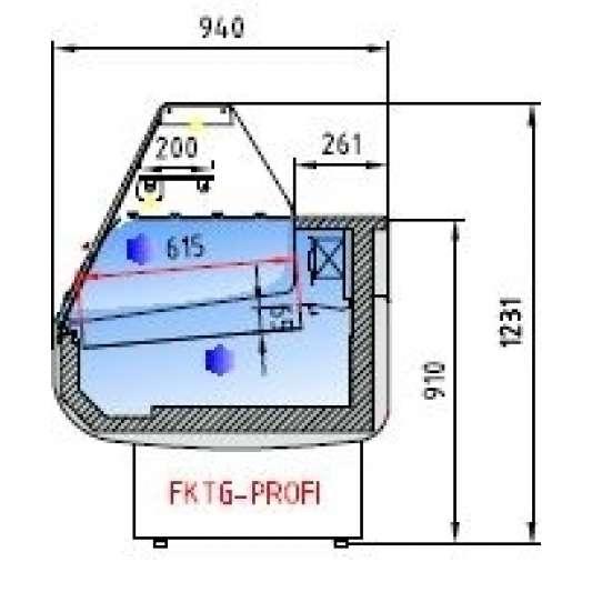 Fischkühltheke Profi 10x9 - gerades Frontglas