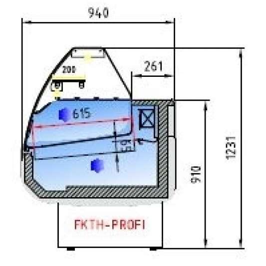 Fischkühltheke Profi 13x9 - gebogenes Frontglas