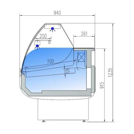 Fischkühltheke Profi 25x9 - gebogenes Frontglas