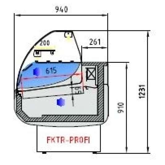Fischkühltheke Profi 20x9 - rundes Frontglas