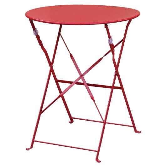 Stahltisch Bolero rund, rot, klappbar