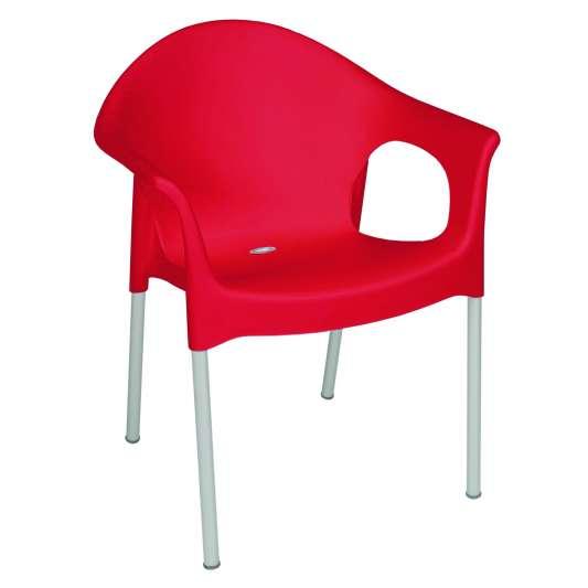 Stapelbarer Kunststoffarmstuhl Rot 4 Stück