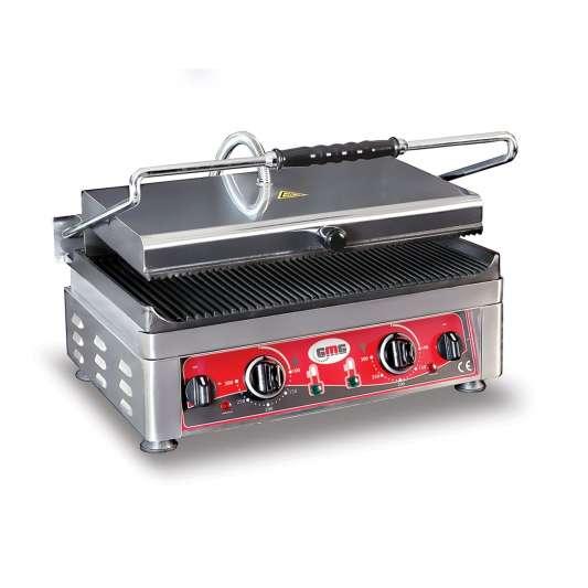 GMG Elektro-Kontaktgrill 45x27 gerillt mit 2 Temperaturreglern