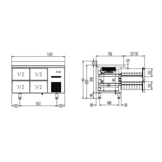 Kühltisch Profi 0/4 mit Aufkantung - GN 1/1