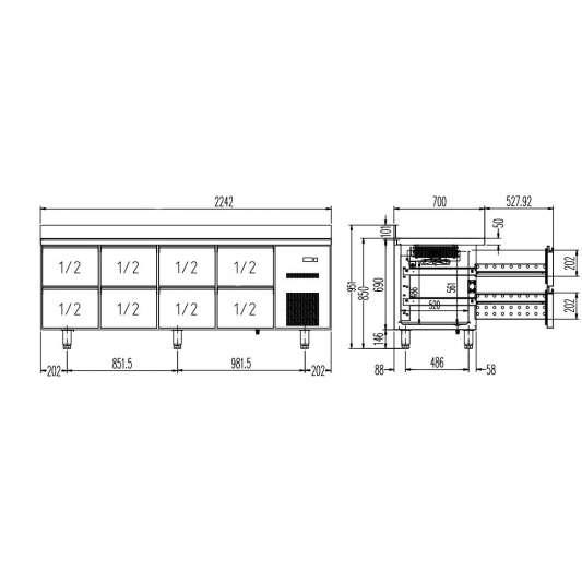Kühltisch Profi 0/8 mit Aufkantung - GN 1/1