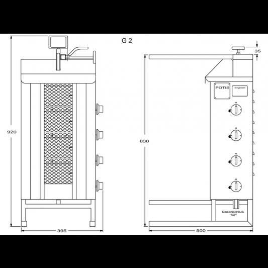 Potis Dönergrill / Gyrosgrill Erdgas G2 - achteckige Fettwanne | Kochtechnik/Grills/Döner- & Gyrosgrills