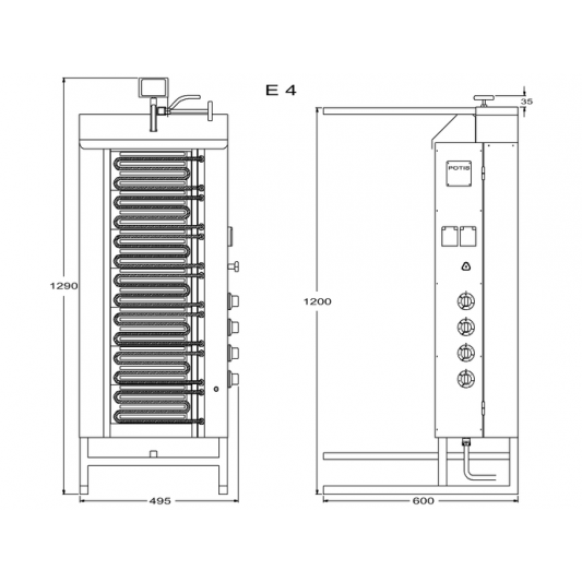 Potis Dönergrill / Gyrosgrill Elektro E4 - achteckige Fettwanne