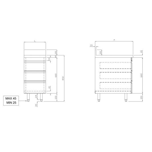 Edelstahl-Schubladenschrank ECO 3er Einheit 700 mit Aufkantung