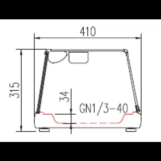Sushi Vitrine PROFI 8x1/3GN - eckiges Glas