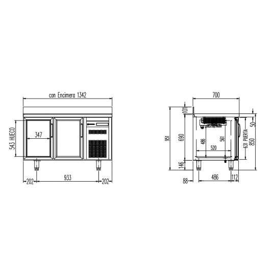Tiefkühltisch Premium 2/0 mit Glastüren und Aufkantung | Kühltechnik/Kühltische/Tiefkühltische