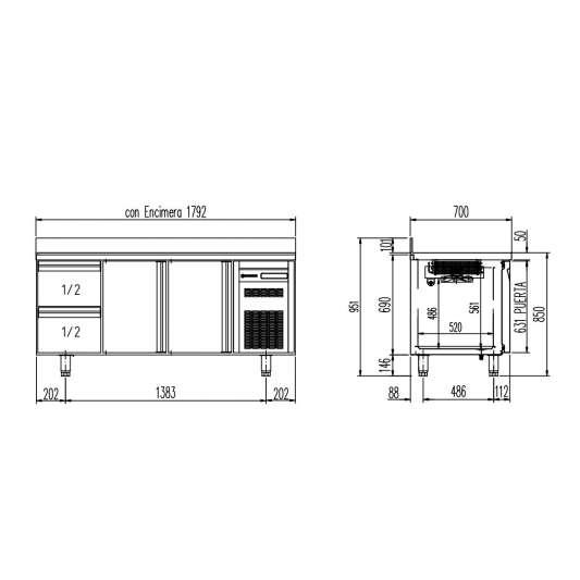 Tiefkühltisch Premium 2/2 mit Aufkantung   Kühltechnik/Kühltische/Tiefkühltische