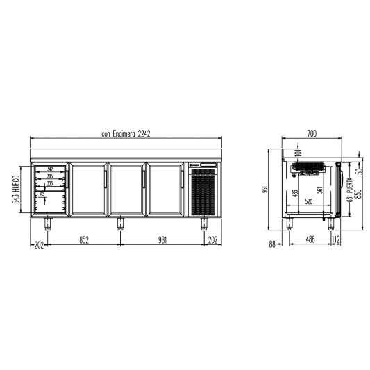 Tiefkühltisch Premium 4/0 mit Glastüren und Aufkantung | Kühltechnik/Kühltische/Tiefkühltische