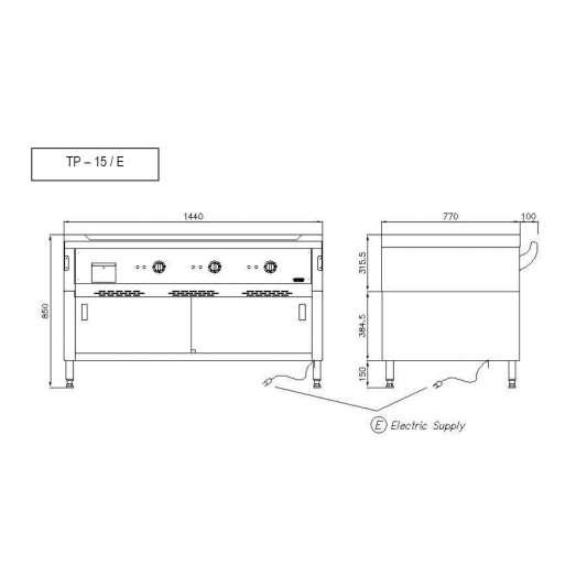 Nayati Elektro Teppan Yaki Grill TP15/E | Kochtechnik/Grillplatten/Teppanyaki