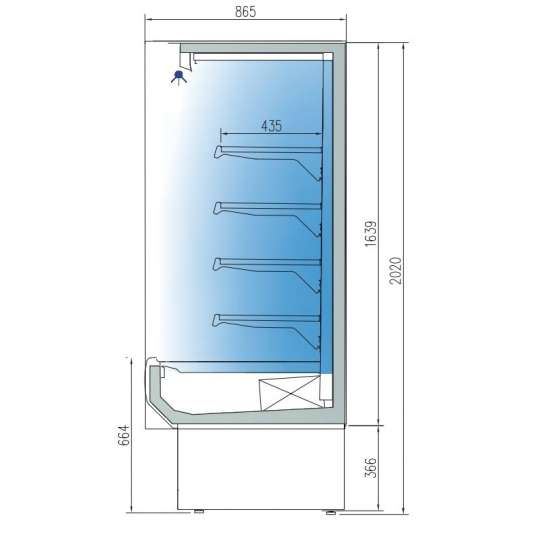 Wandkühlregal Profi 1900 Edelstahl mit Glastüren | Kühltechnik/Wandkühlregale