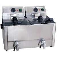Elektro-Doppel-Fritteuse ECO 10+10 Liter mit Ablasshahn | Kochtechnik/Fritteusen/Elektro-Fritteusen
